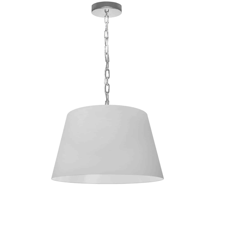 1 Light Brynn Small Pendant, White Shade, Polished Chrome