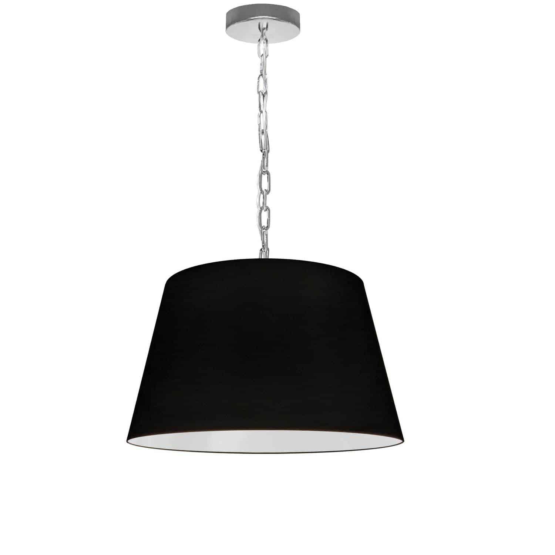 1 Light Brynn Small Pendant, Black Shade, Polished Chrome