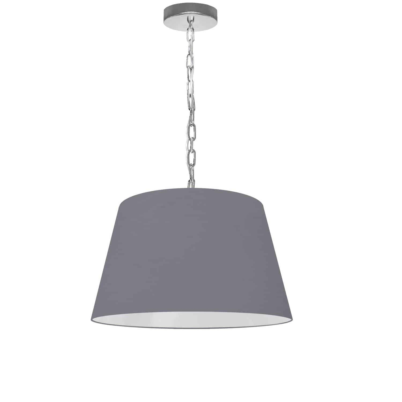 1 Light Brynn Small Pendant, Grey Shade, Polished Chrome