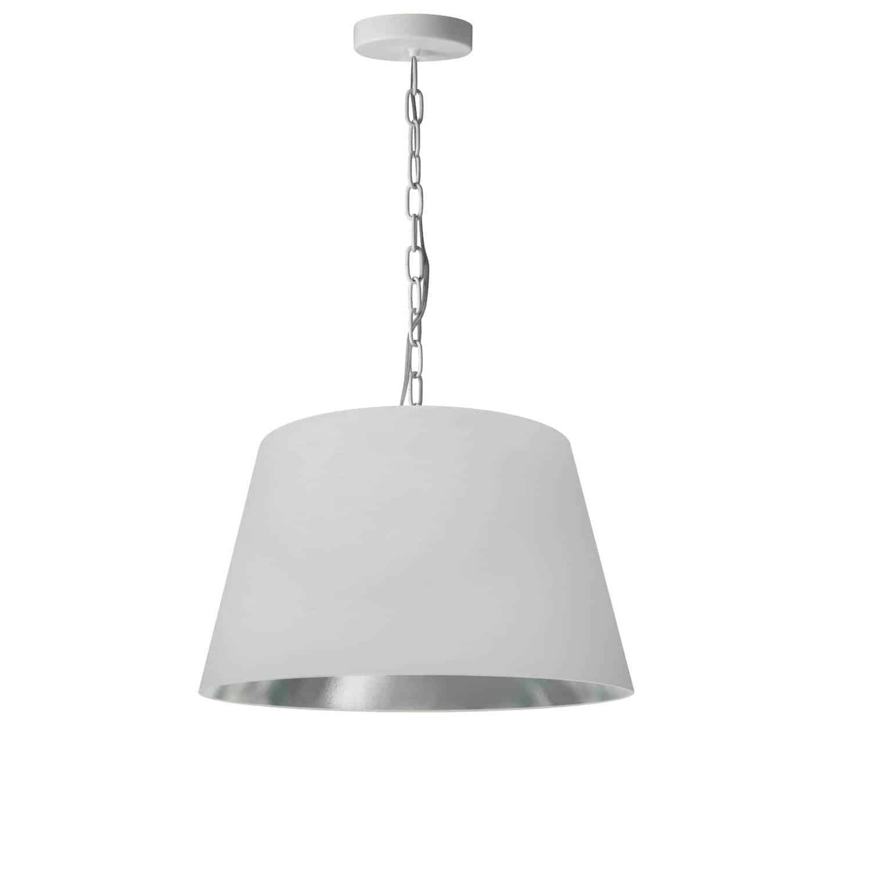 1 Light Brynn Small Pendant, White/Silver Shade, White