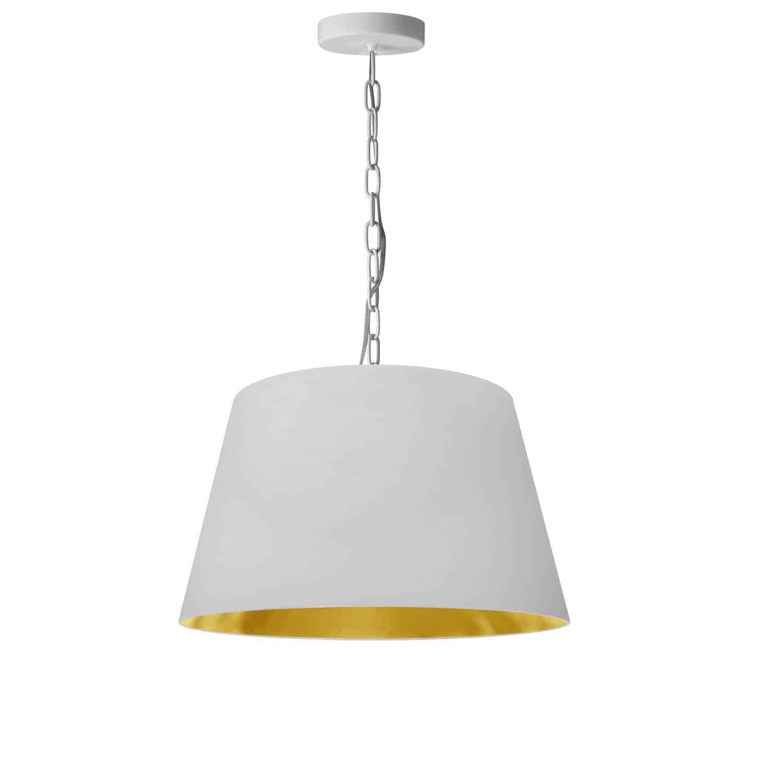 1 Light Brynn Small Pendant, White/Gold Shade, White