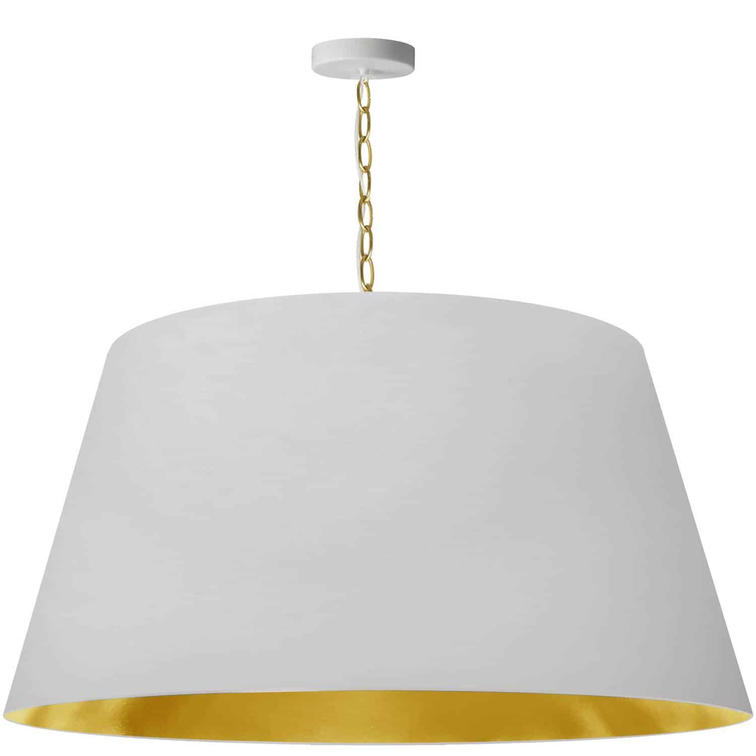 1 Light Brynn Extra Large Pendant, White/Gold Shade, Aged Brass