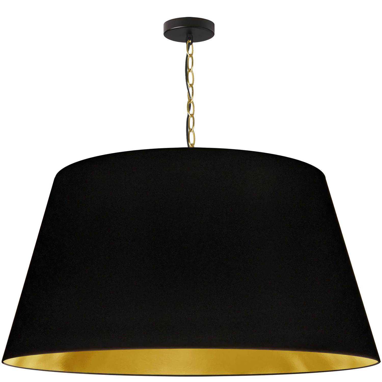 1 Light Brynn Extra Large Pendant, Black/Gold Shade, Aged Brass