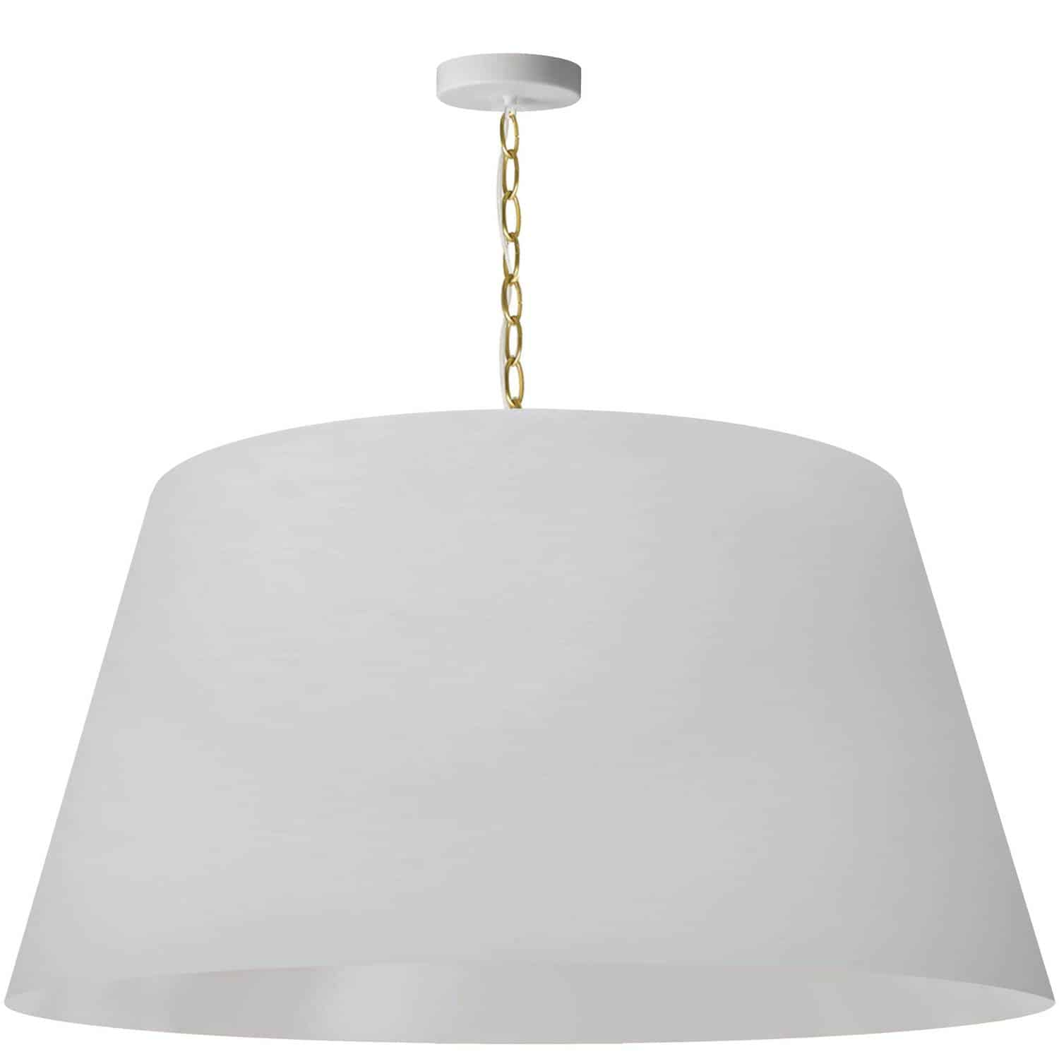 1 Light Brynn Extra Large Pendant, White Shade, Aged Brass