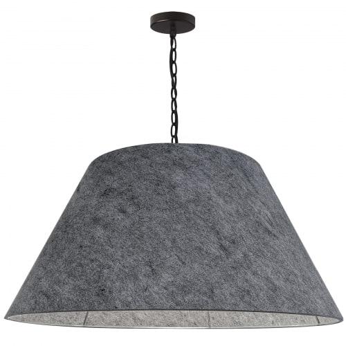 1 Light X-Large Brynn Black Pendant w/ Grey Felt