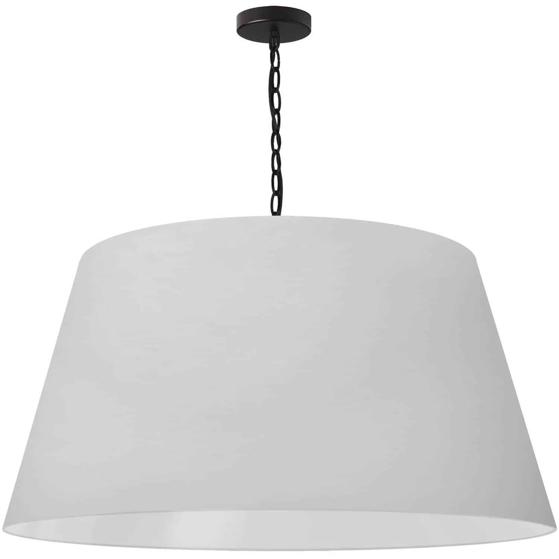 1 Light Brynn Extra Large Pendant, White Shade, Black