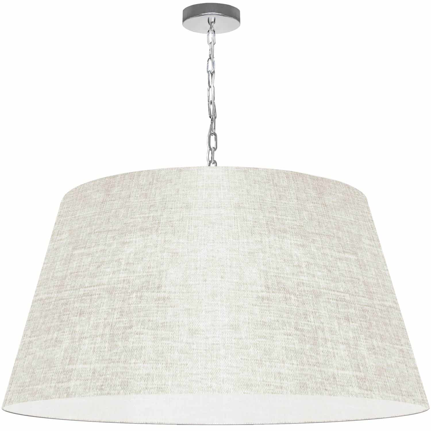 1 Light Brynn X-Large Pendant, Cream/Clear Shade, Polished Chrome