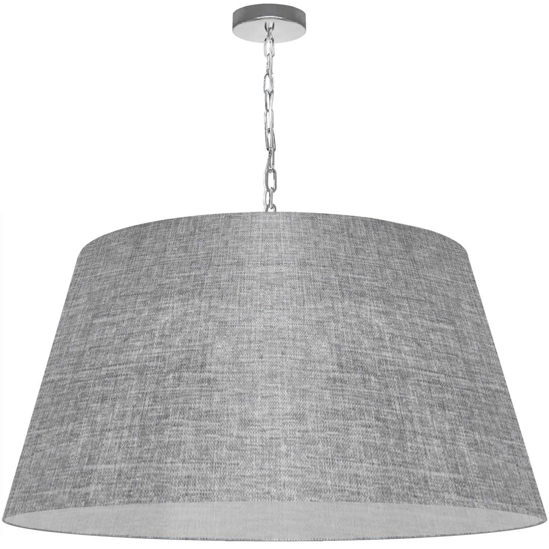 1 Light Brynn X-Large Pendant, Grey/Clear Shade, Polished Chrome