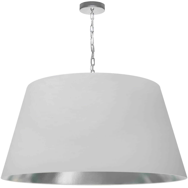 1 Light Brynn X-Large Pendant, White/Silver Shade, Polished Chrome