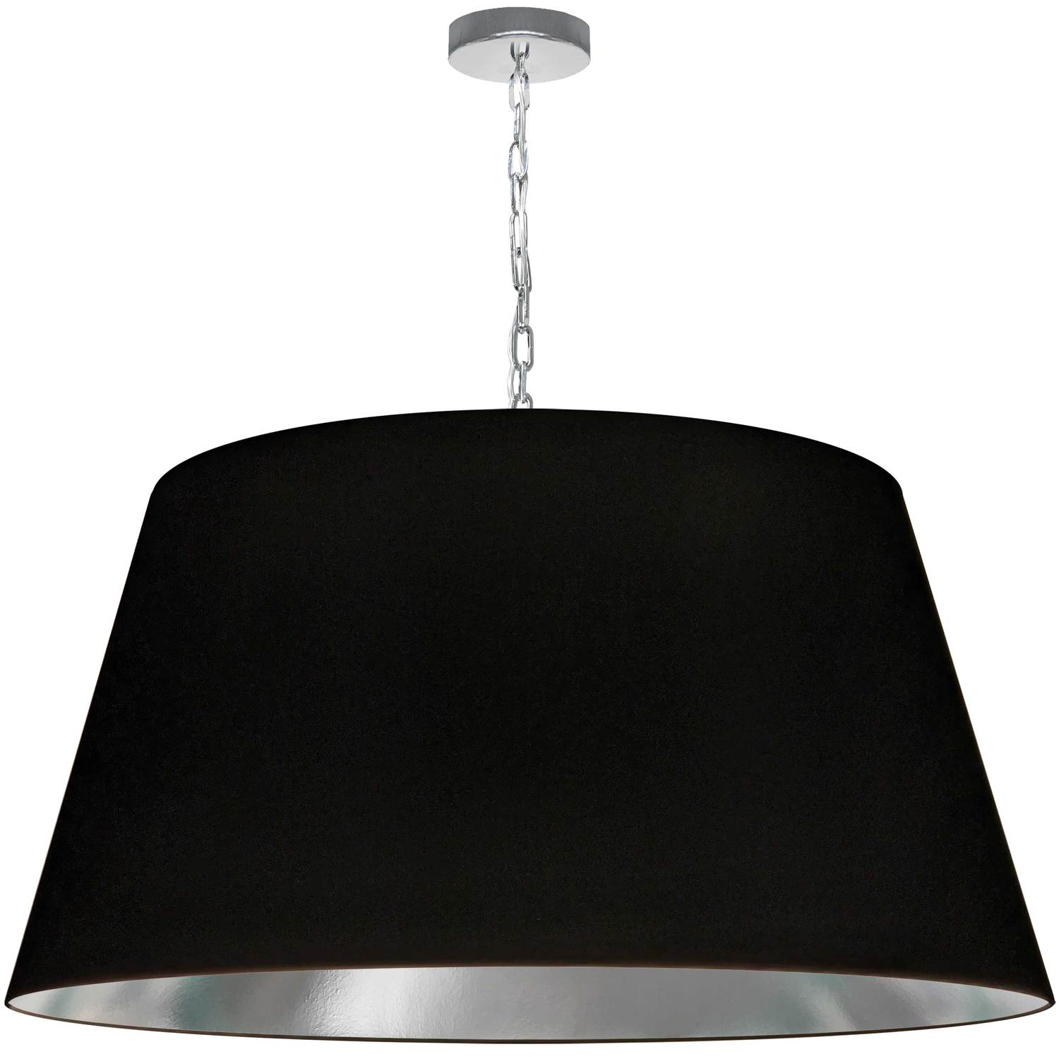 1 Light Brynn X-Large Pendant, Black/Silver Shade, Polished Chrome