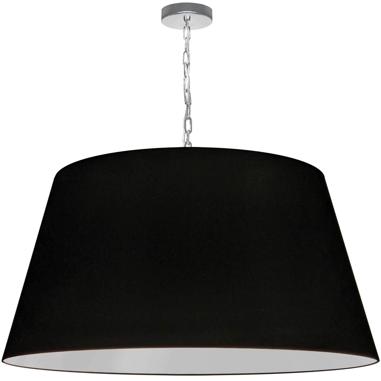 1 Light Brynn X-Large Pendant, Black Shade, Polished Chrome