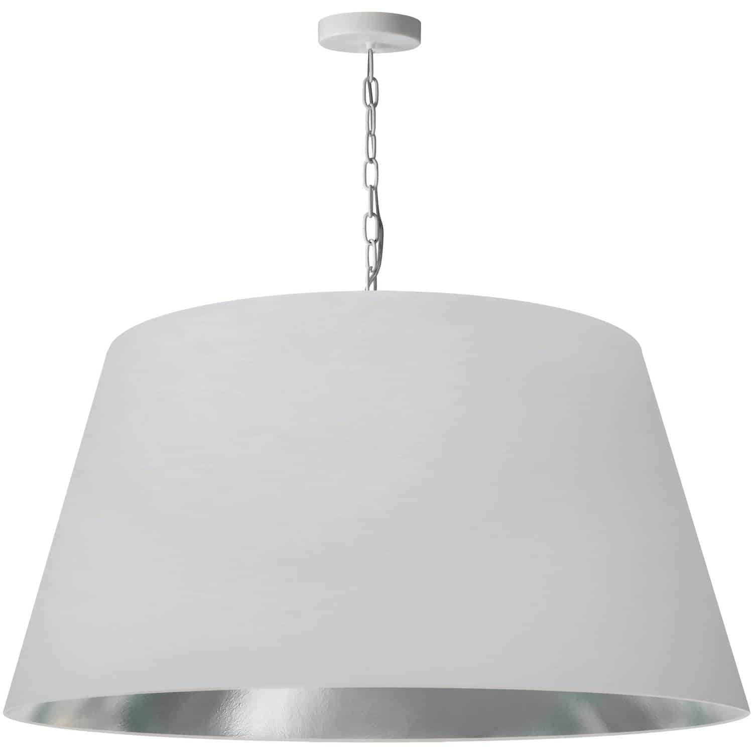 1 Light Brynn Extra Large Pendant, White/Silver Shade, White