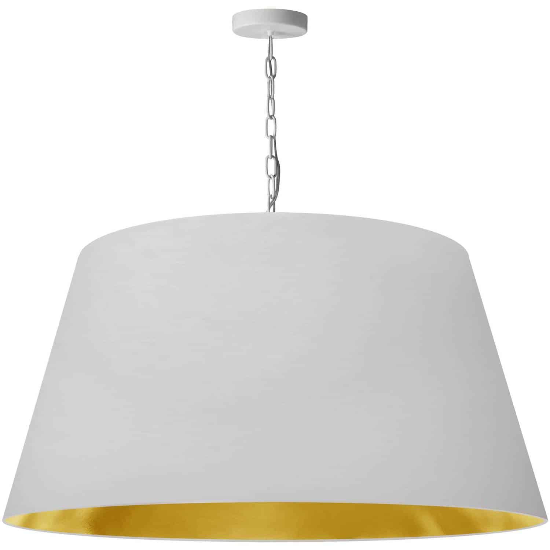 1 Light Brynn X-Large Pendant, White/Gold Shade, White