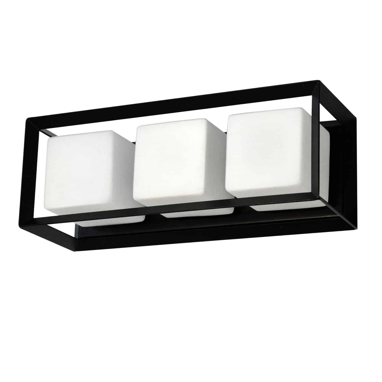 3 Light Halogen Vanity, Matte Black with White Glass