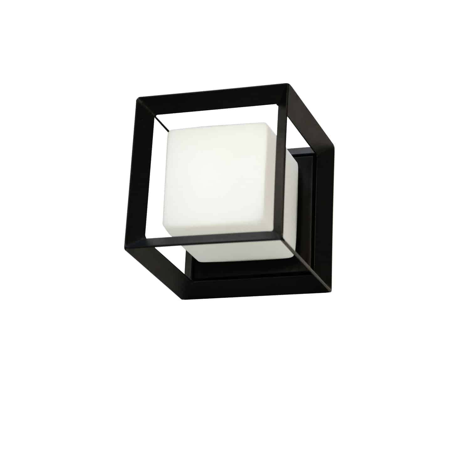 1 Light Halogen Wall Sconce, Matte Black with White Glass