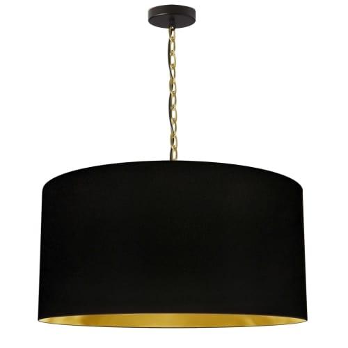1 Light Large Braxton Aged Brass Pendant w/ Black/Gold Shade