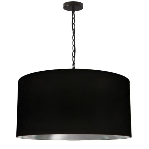 1 Light Large Braxton Black Pendant w/ Black/Silver Shade