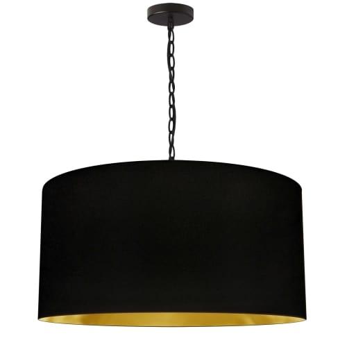 1 Light Large Braxton Black Pendant w/ Black/Gold Shade
