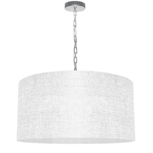 1 Light Large Braxton Polished Chrome Pendant w/ White/Clear Shade