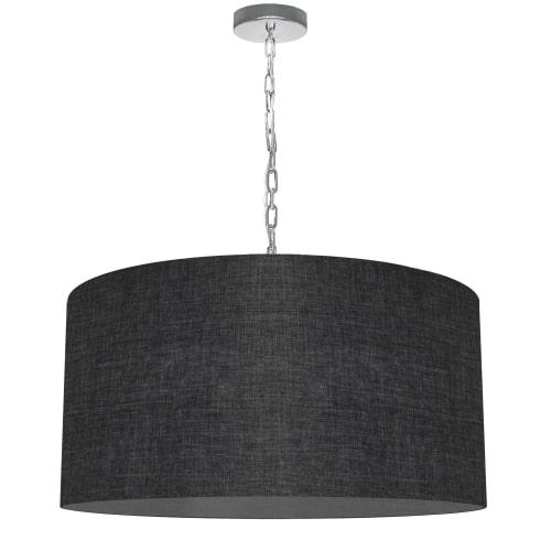 1 Light Large Braxton Polished Chrome Pendant w/ Black/Clear Shade