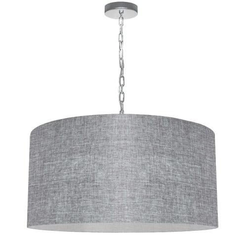 1 Light Large Braxton Polished Chrome Pendant w/ Grey/Clear Shade