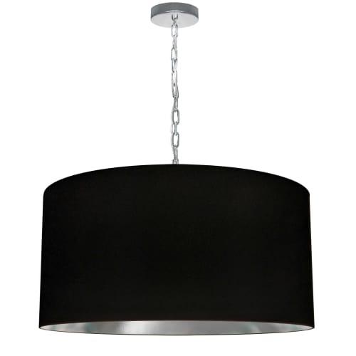 1 Light Large Braxton Polished Chrome Pendant w/ Black/Silver Shade