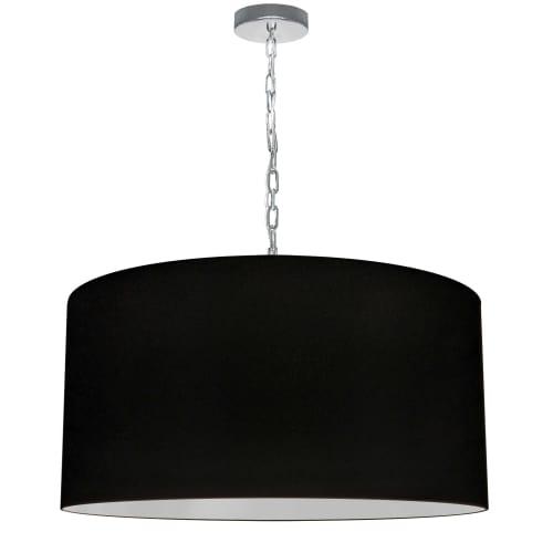 1 Light Large Braxton Polished Chrome Pendant w/ Black Shade