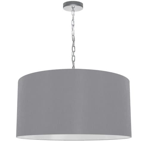 1 Light Large Braxton Polished Chrome Pendant w/ Grey Shade