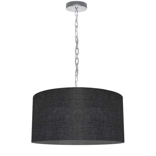 1 Light Medium Braxton Polished Chrome Pendant w/ Black/Clear Shade