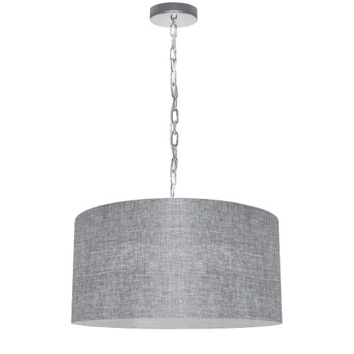 1 Light Medium Braxton Polished Chrome Pendant w/ Grey/Clear Shade
