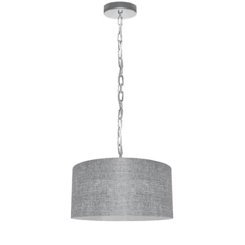 1 Light Small Braxton Polished Chrome Pendant w/ Grey/Clear Shade