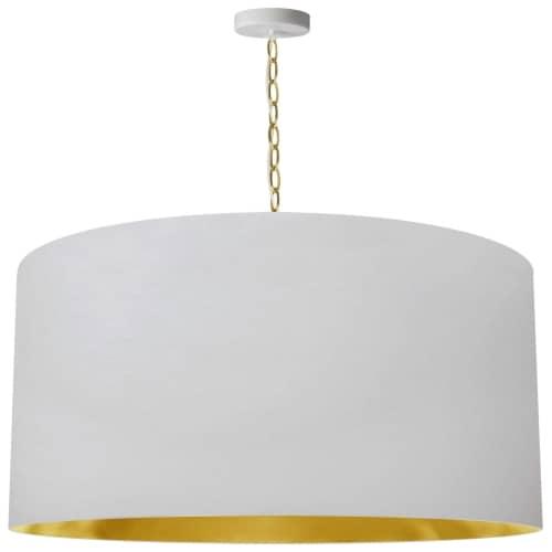 1 Light X-Large Braxton Aged Brass Pendant w/ White/Gold Shade