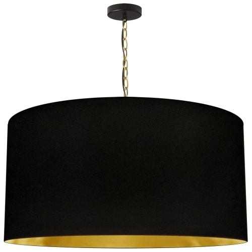 1 Light X-Large Braxton Aged Brass Pendant w/ Black/Gold Shade