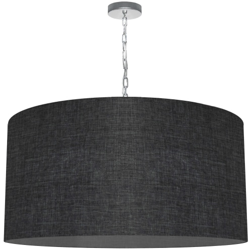 1 Light X-Large Braxton Polished Chrome Pendant w/ Black/Clear Shade
