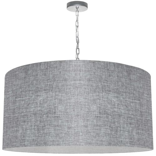 1 Light X-Large Braxton Polished Chrome Pendant w/ Grey/Clear Shade