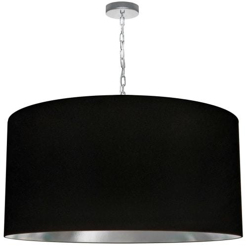 1 Light X-Large Braxton Polished Chrome Pendant w/ Black/Silver Shade