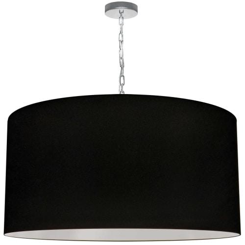 1 Light X-Large Braxton Polished Chrome Pendant w/ Black Shade