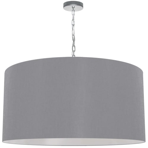 1 Light X-Large Braxton Polished Chrome Pendant w/ Grey Shade