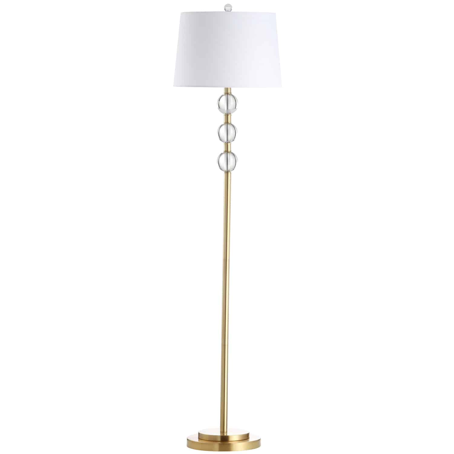 1 Light Incandescent Crystal Floor Lamp, Aged Brass with White Shade