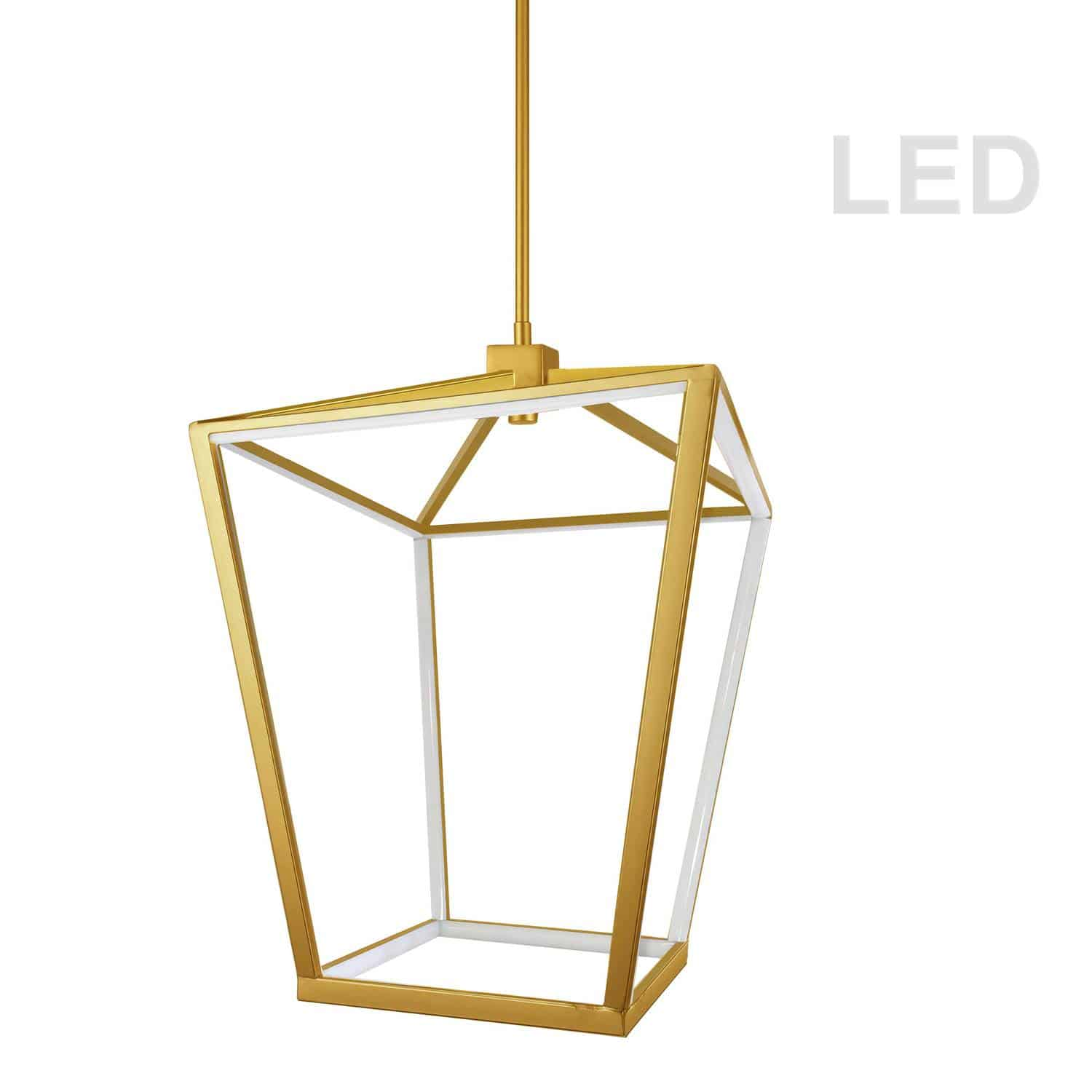 46W Chandelier, Aged Brass with White Diffuser