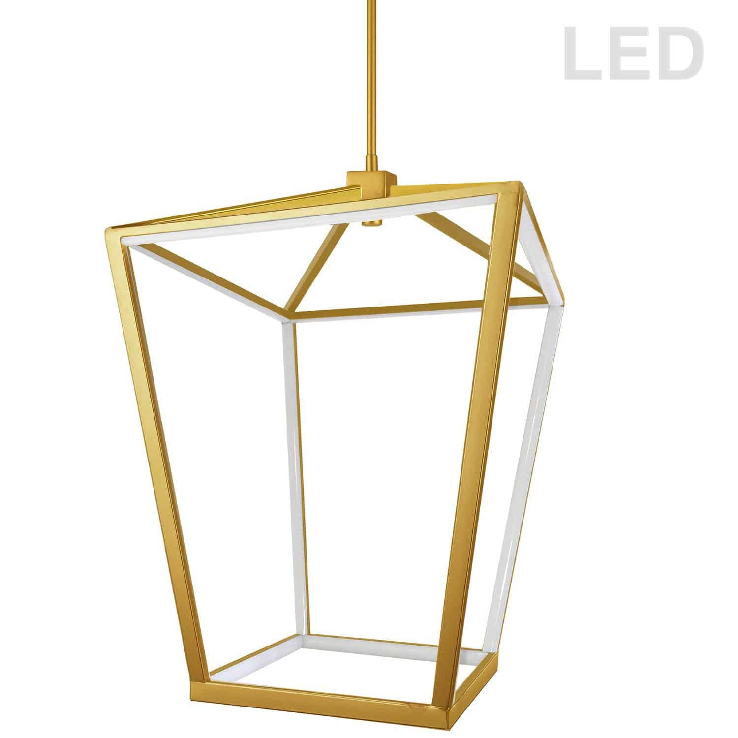 64W Chandelier, Aged Brass with White Diffuser