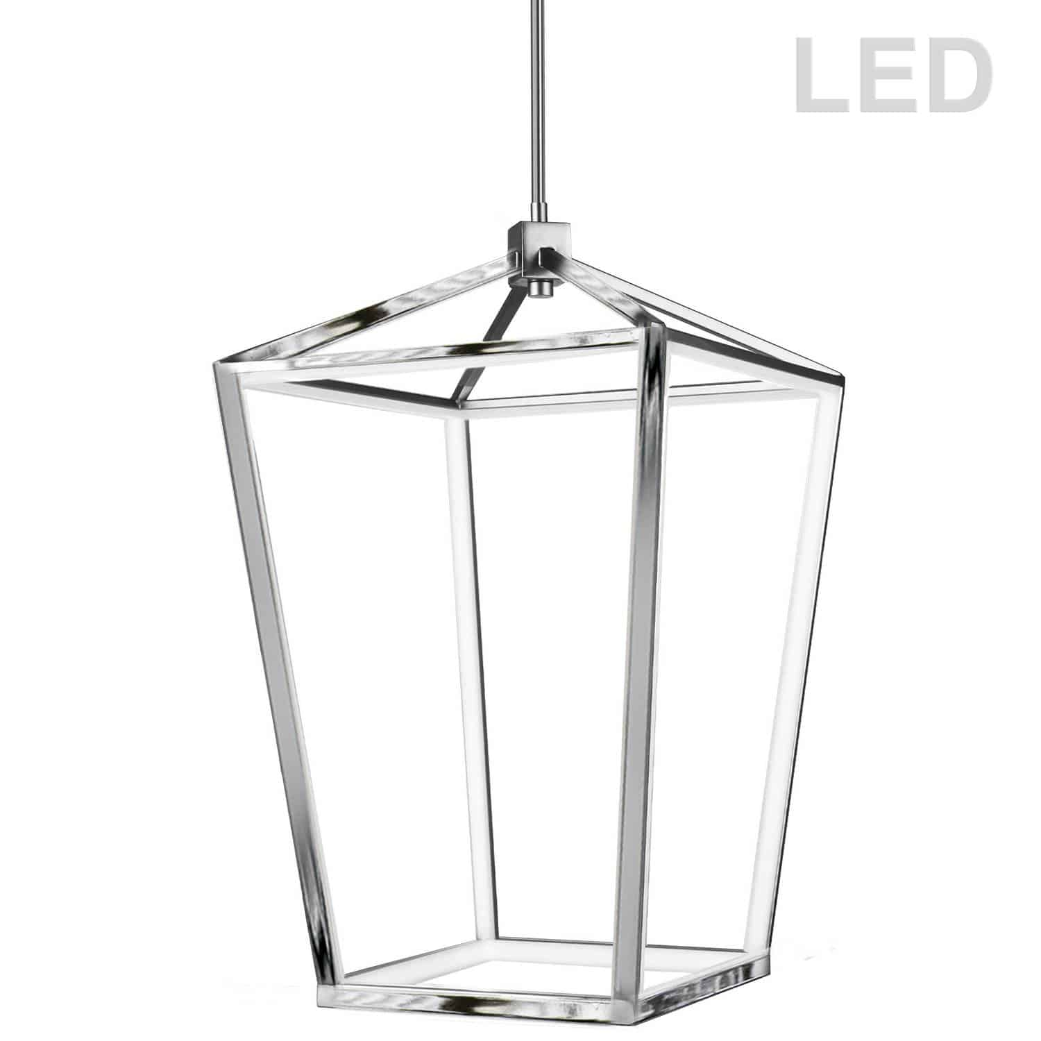64W Chandelier, Polished Chrome with White Diffuser