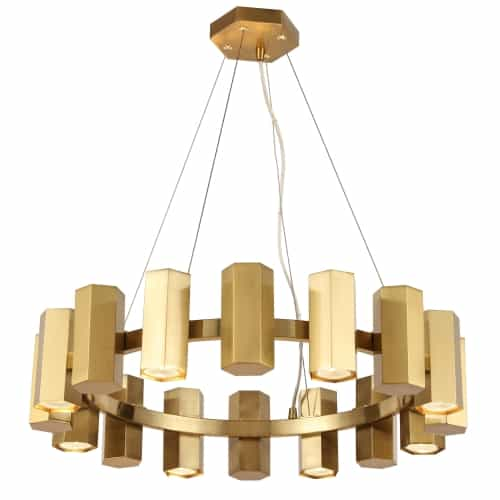 16 Light Halogen Aged Brass Chandelier