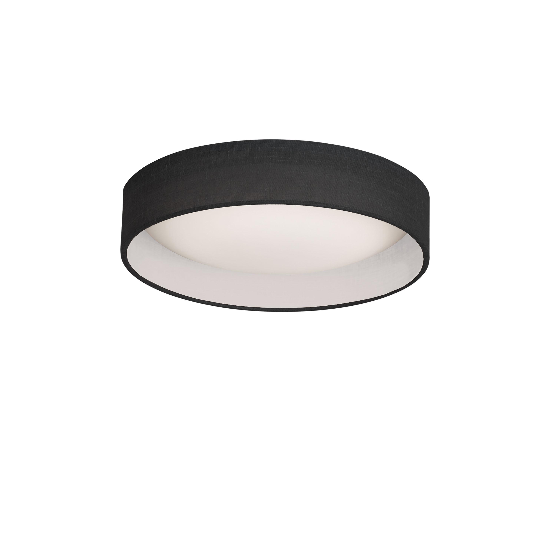 LED Flush Mount, Satin Chrome Finish, Black Shade