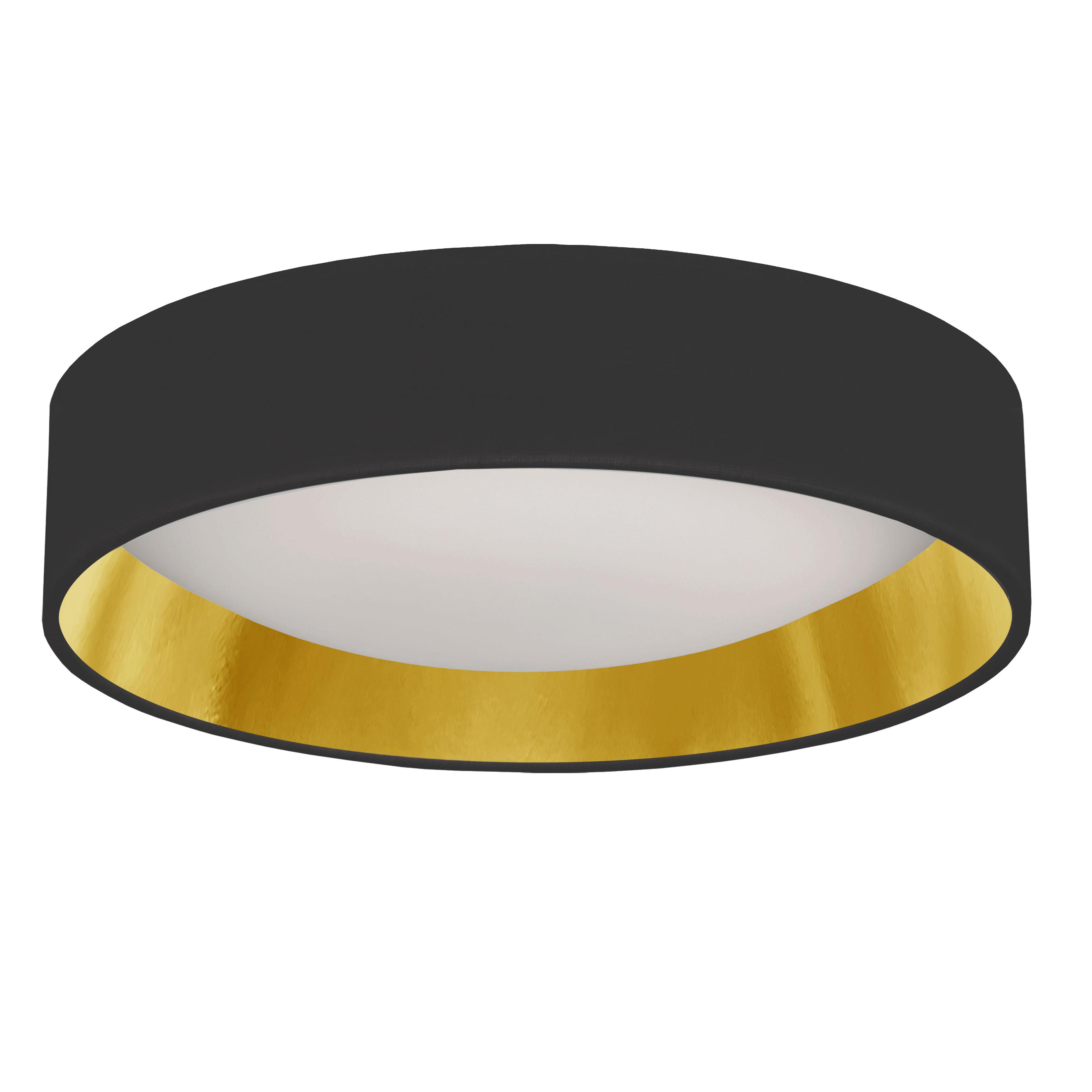"15"" Light Flush Mount Fixture Black/Gold Shade"