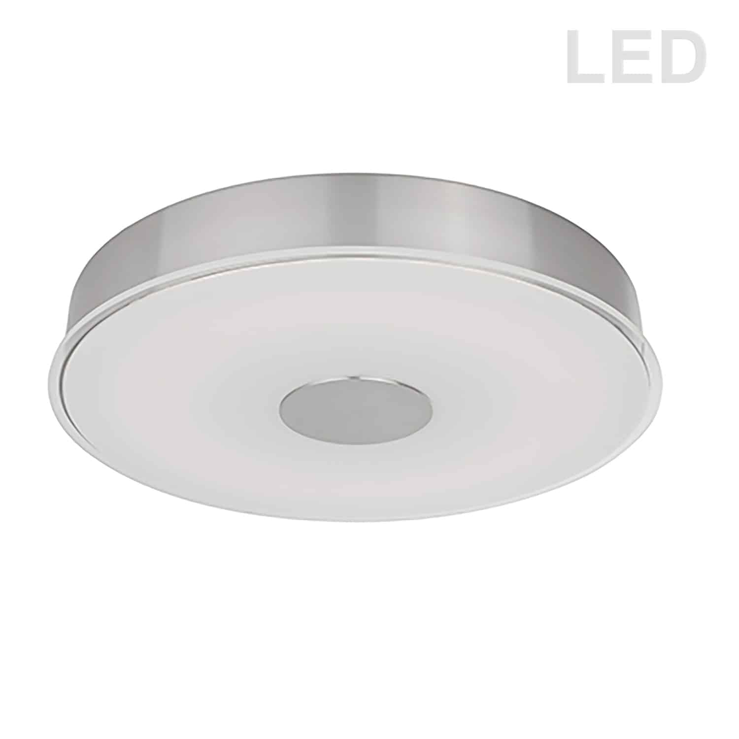 29W LED Flush Mount Satin Chrome Finish Frosted with Clear Edge Glass