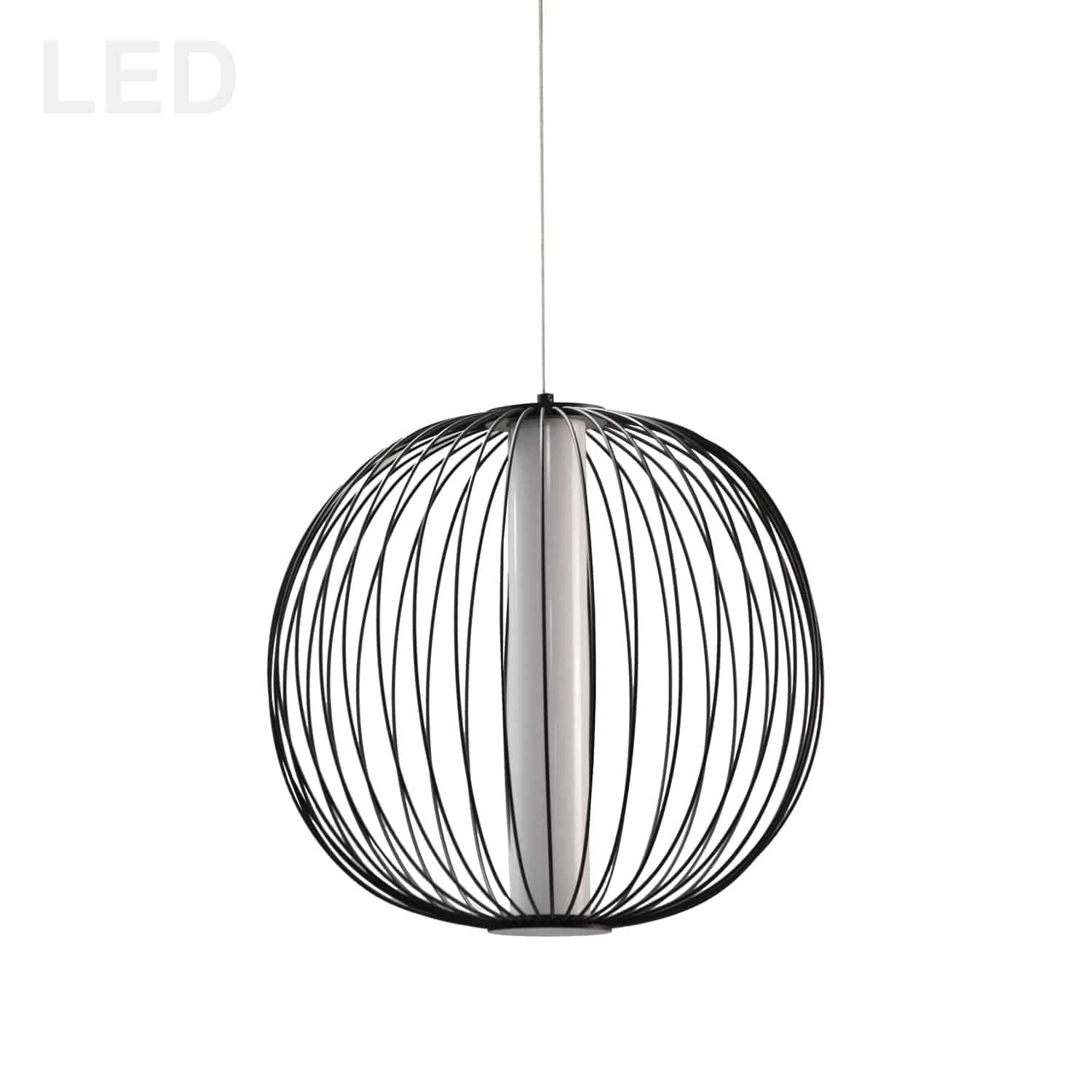 20W LED Pendant, Matte Black with White Acrylic Diffuser