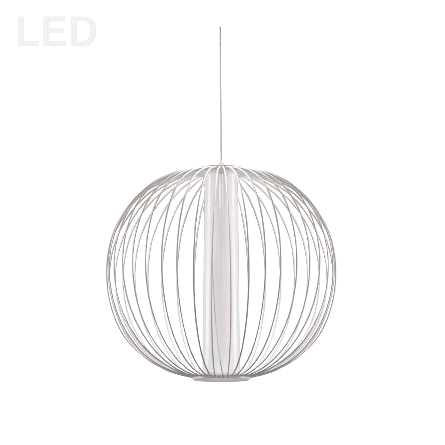 20W LED Pendant, Matte White with White Acrylic Diffuser