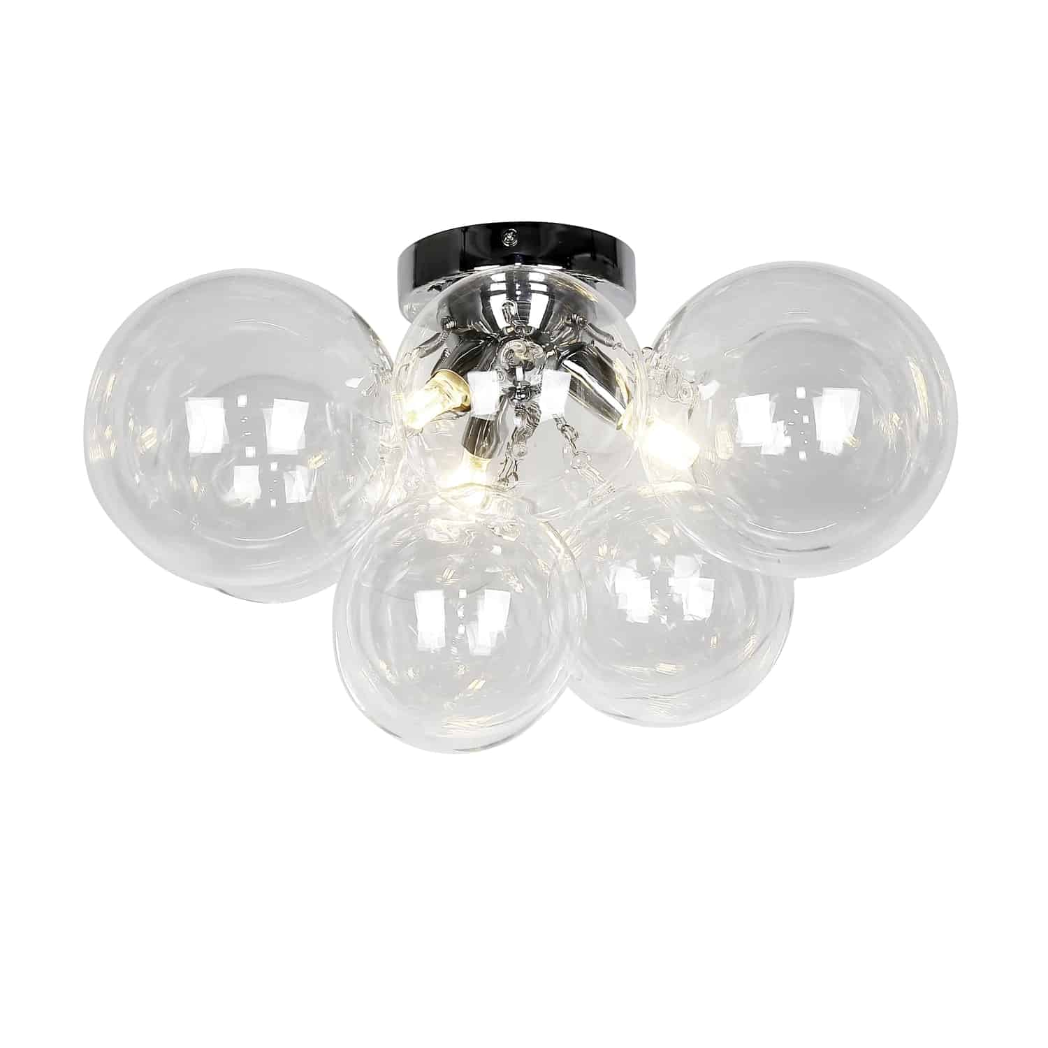3 Light Halogen Flush Mount, Polished Chrome with Clear Glass