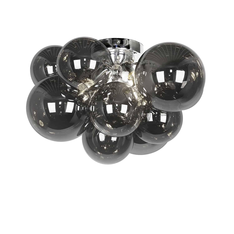 3 Light Halogen Flush Mount, Polished Chrome with Smoked Glass